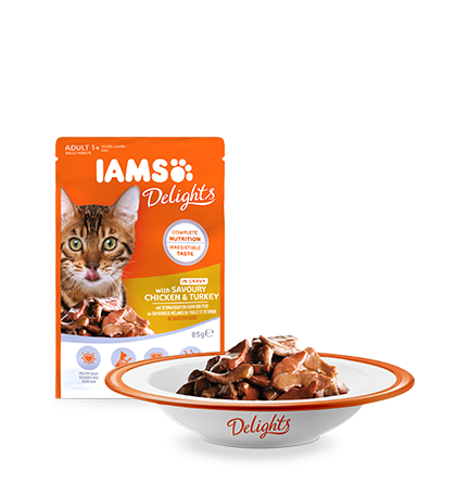 IAMS Delights with Savoury Chicken and Turkey in Gravy
