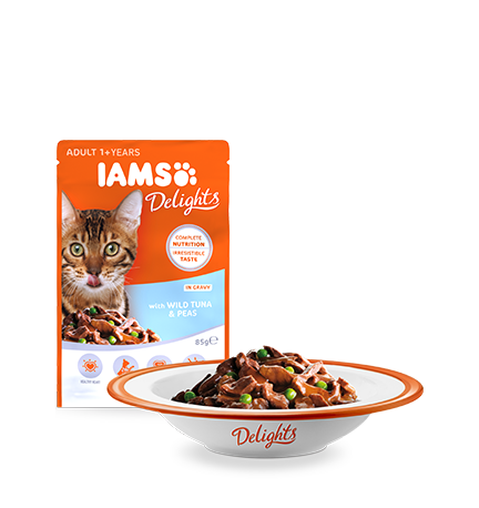 IAMS Delights with Wild Tuna & Peas in Gravy